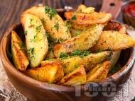 Пържени картофи уеджис по селски с копър и чесън